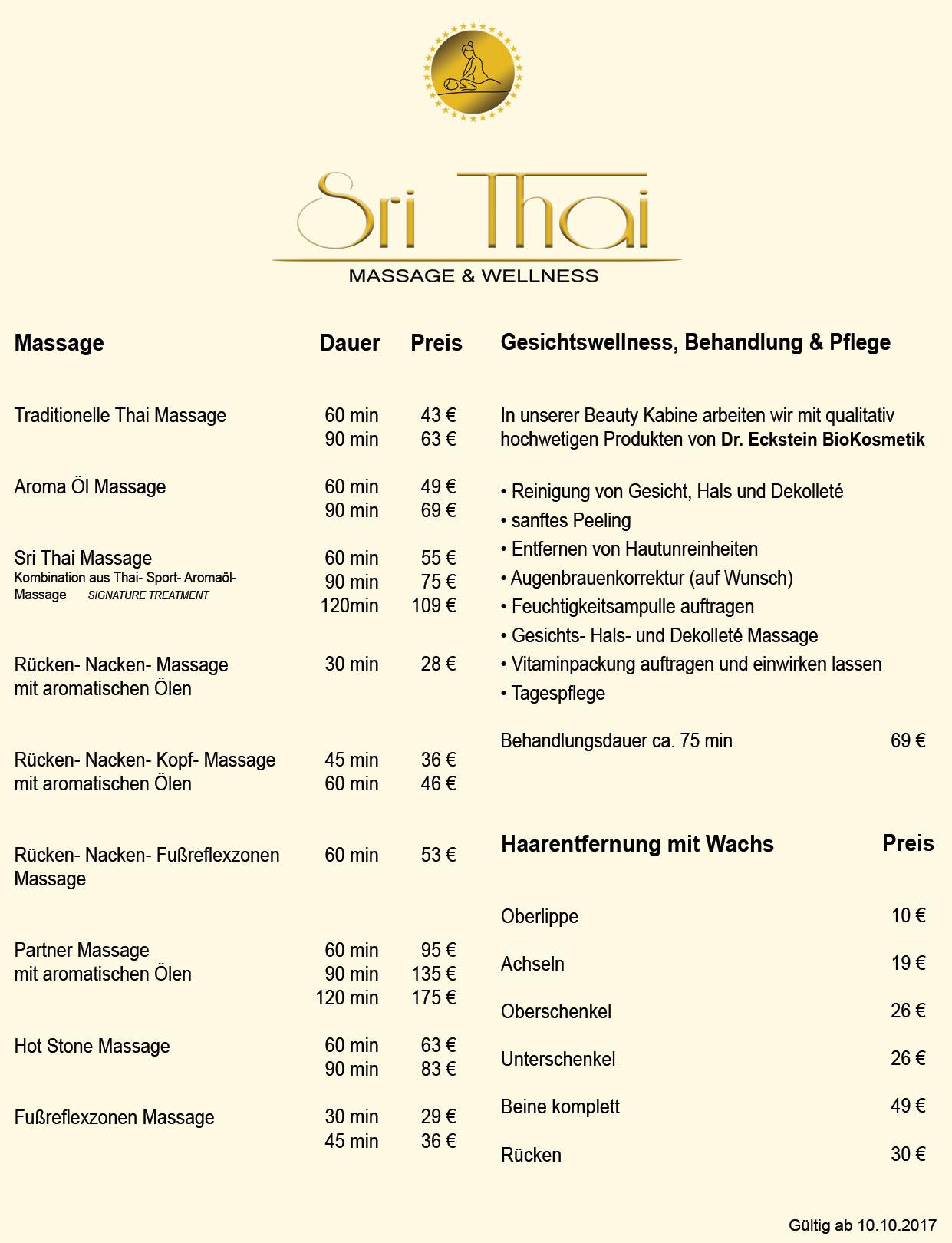 SriThai Preisliste.