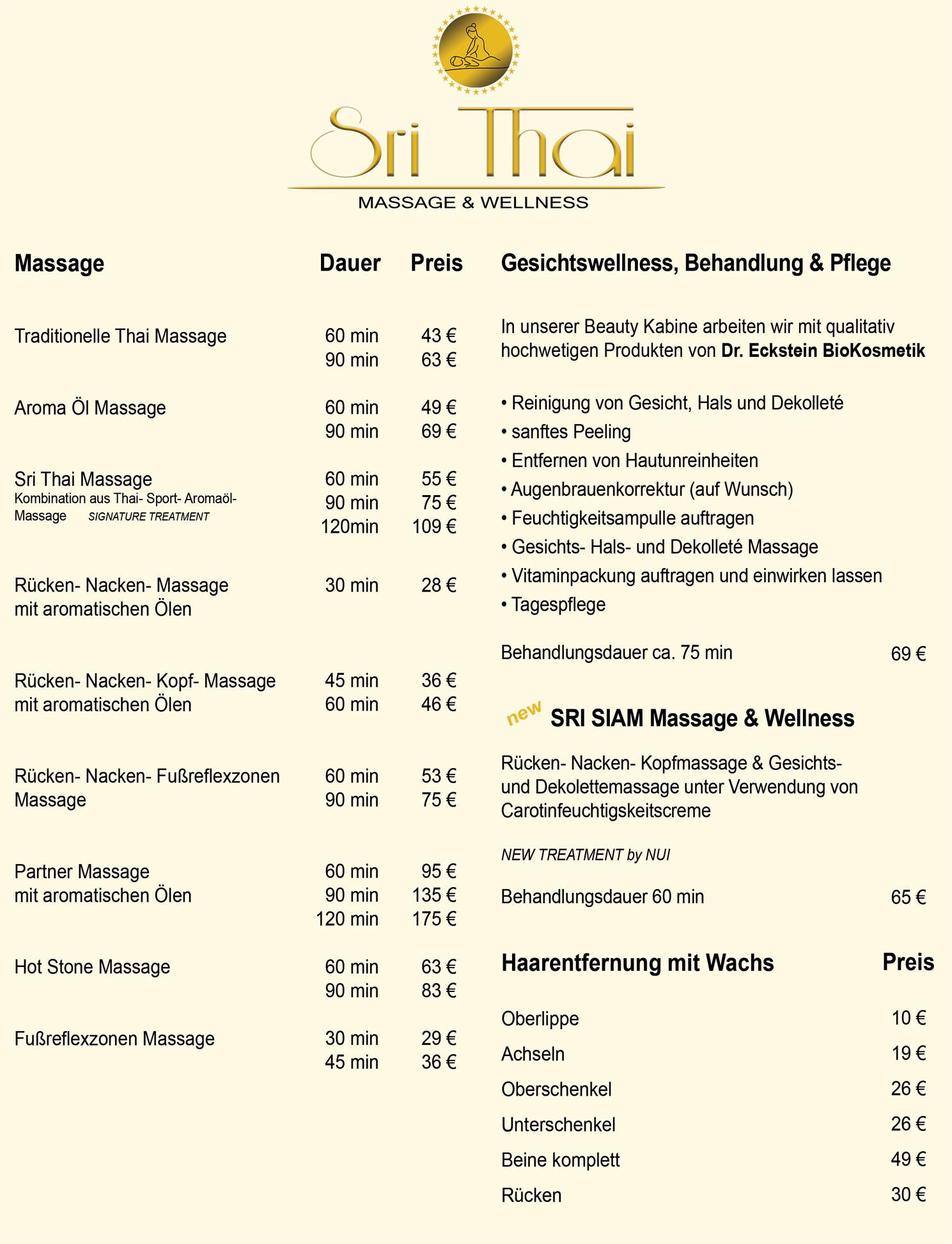 Sri Thai Massage & Wellness | Preise